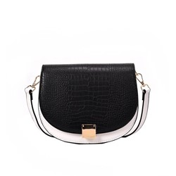 Shoespie Color Block PU Saddle Thread Crossbody Bag