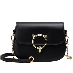 PU Thread Lock Embellish Saddle Crossbody Bag