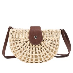 Shoespie Knitted Grass Plain Saddle Crossbody Bags