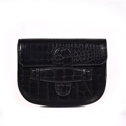 Shoespie Alligator Embossing PU Saddle Crossbody Bags