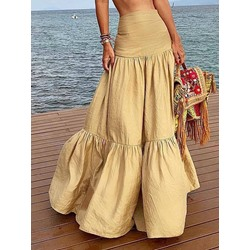 Plain A-Line Floor-Length High Waist Women's Skirt