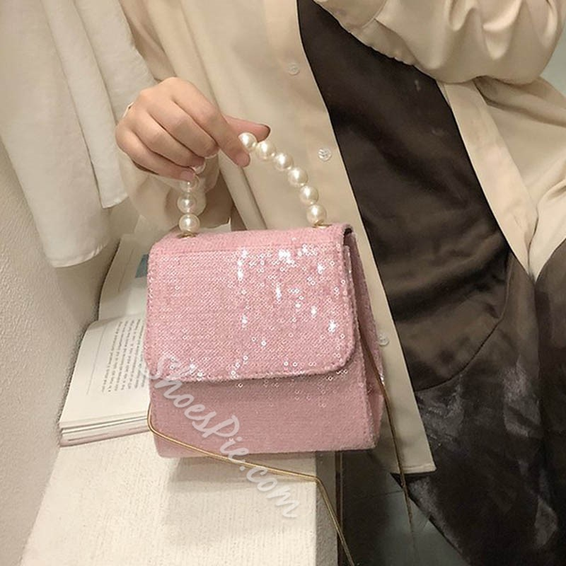 Shoespie Sequins PU Plain Rectangle Crossbody Bags