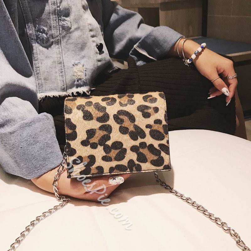 Shoespie PU Leopard Chain Square Crossbody Bags