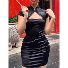 Above Knee Pleated Short Sleeve Pullover Women's Dress