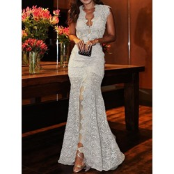 V-Neck Lace Floor-Length Women's Dress