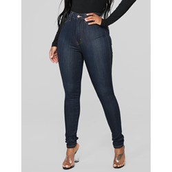 Pencil Pants Button Plain Mid Waist Women's Jeans