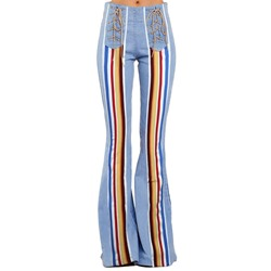 Color Block Washable Bellbottoms Slim Women's Jeans