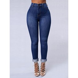 Zipper Plain Zipper Women's Jeans