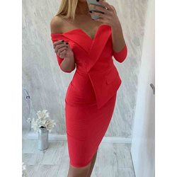 Three-Quarter Sleeve Above Knee Off Shoulder Women's Dress