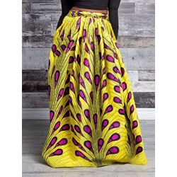 Geometric Floor-Length A-Line High Waist Women's Skirt