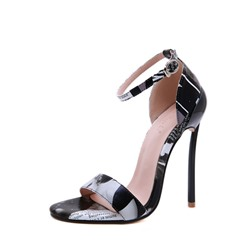 Shoespie Buckle Stiletto Heel Letter Sandals