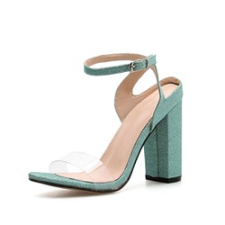 Shoespie Green Chunky Heel Open Toe Buckle Clear Sandals