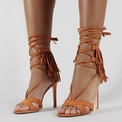 Shoespie Tassel Stiletto Heel Strappy Sandals
