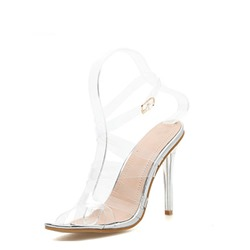 Shoespie Stiletto Heel Open Toe Ankle Strap Color Block Sandals