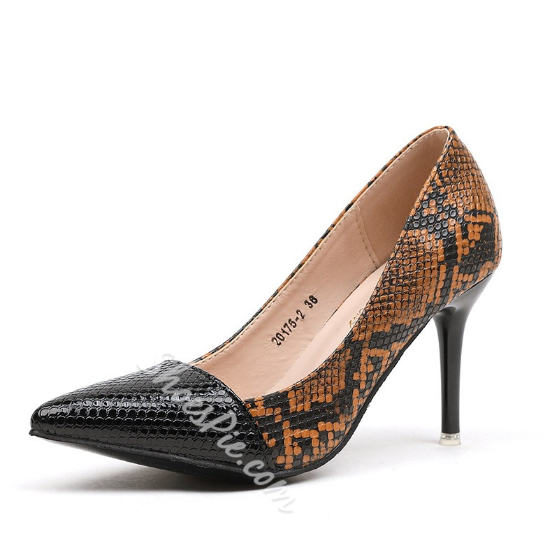 Shoespie Snake Pattern Pointed Toe Stiletto Heels