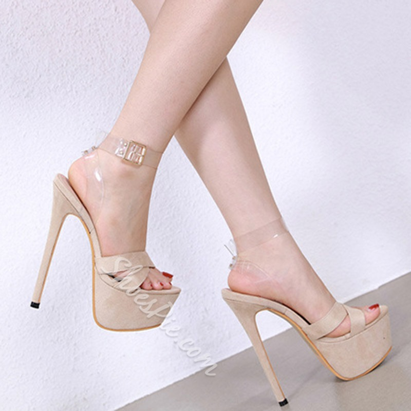 Shoespie Clear Stiletto Heel Platform Ankle Strap Sandals