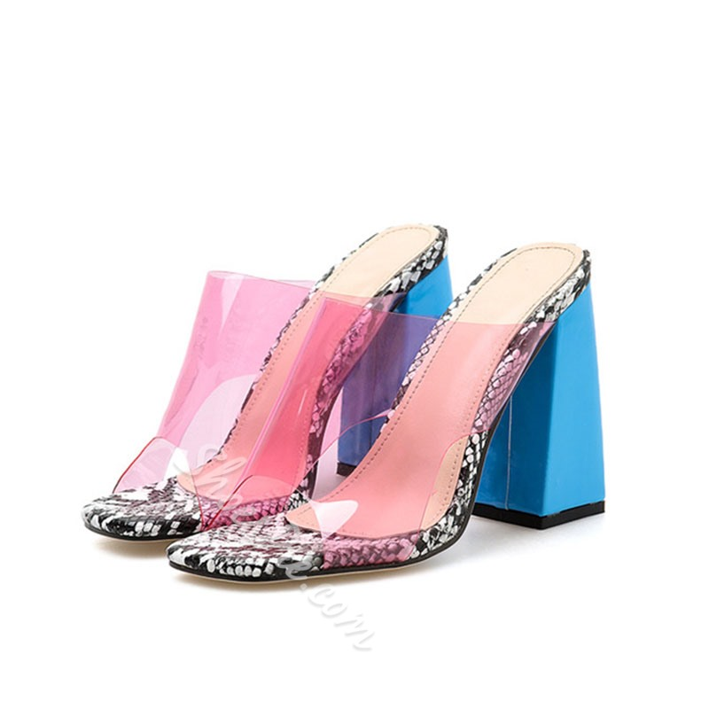 Shoespie Snake Pattern Clear Chunky Heel Mules