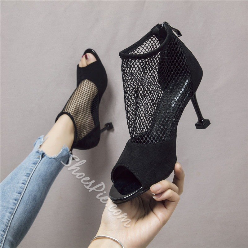 Shoespie Mesh Peep Toe Zipper Stiletto Heels