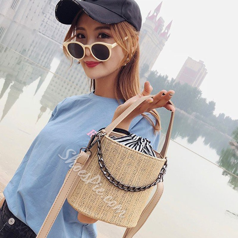 Shoespie Chain Barrel-Shaped Tote Bags
