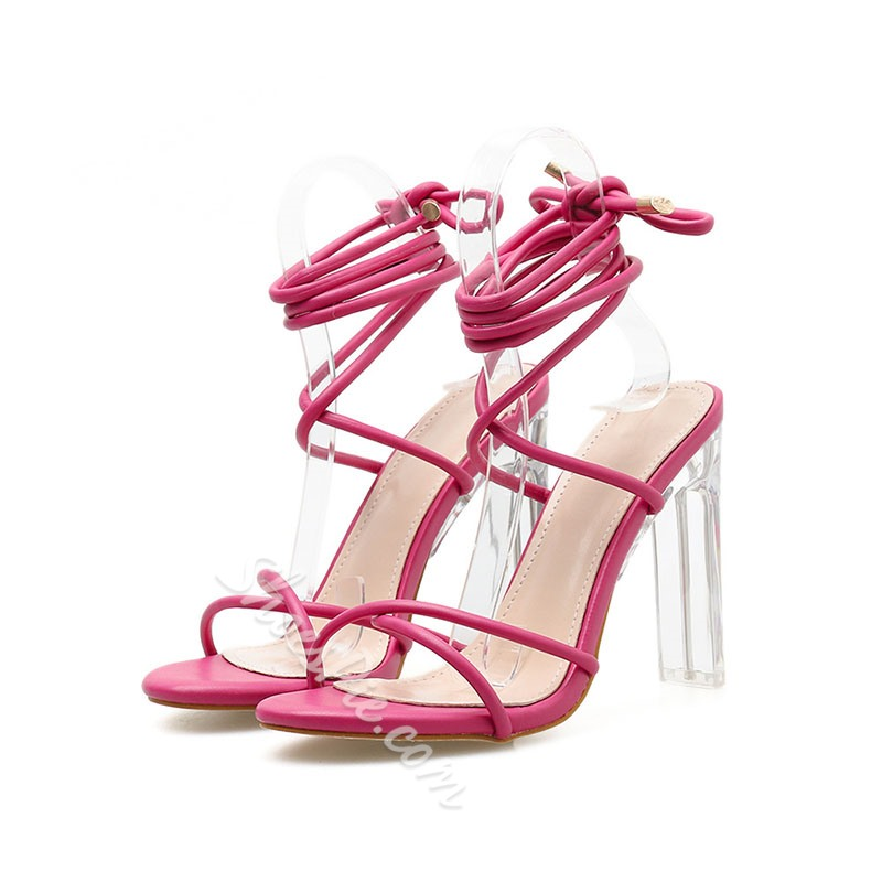 Shoespie Sexy Chunky Heel Lace-Up Ankle Strap Sandals