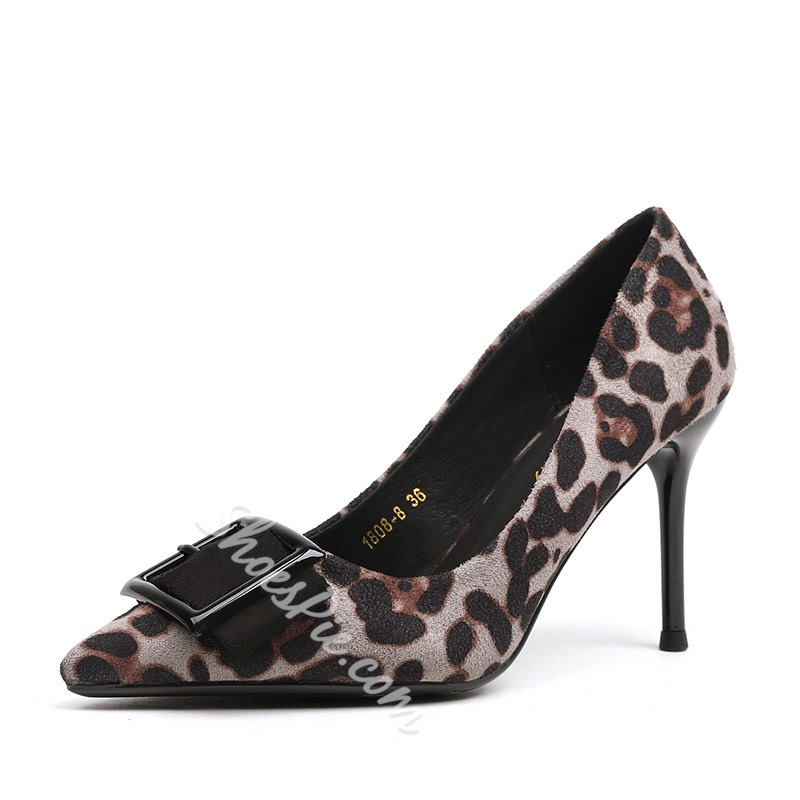 Shoespie Leopard Buckle Pointed Toe Stiletto Heel Pumps
