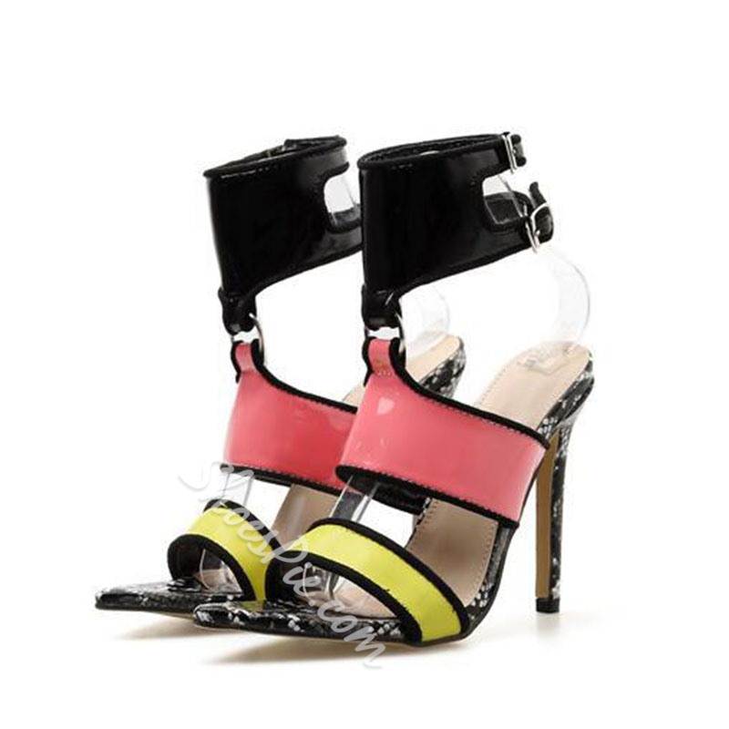 Shoespie Stiletto Heel Buckle Solid Buckle Strap Sandals