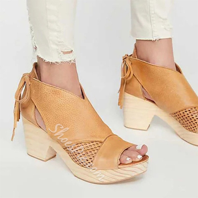 Shoespie Open Toe Chunky Heel Hollow Boots