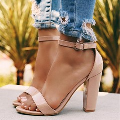 Shoespie Buckle Strap Chunky Heel Open Toe Sandals