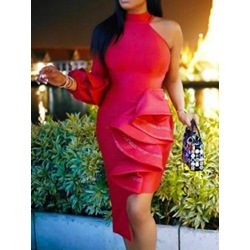 Stand Collar Long Sleeve Asymmetric Women's Bodycon Dress