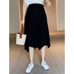 Asymmetric Asymmetrical Plain Casual Women's Skirt