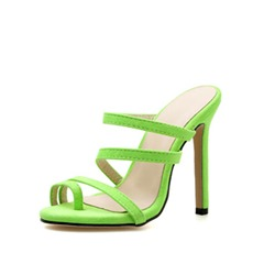 Shoespie Green Toe Ring Stiletto Heel Slippers