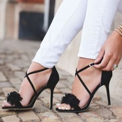 Shoespie Stiletto Heel Tassel Buckle Sandals