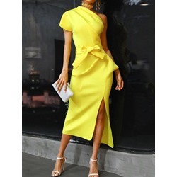 Oblique Collar Mid-Calf Short Sleeve Plain Women's Bodycon Dress