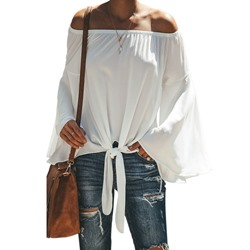 Pleated Plain Off Shoulder Mid-Length Women's Blouse