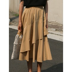 Mid-Calf Expansion Plain Mid Waist Women's Skirt