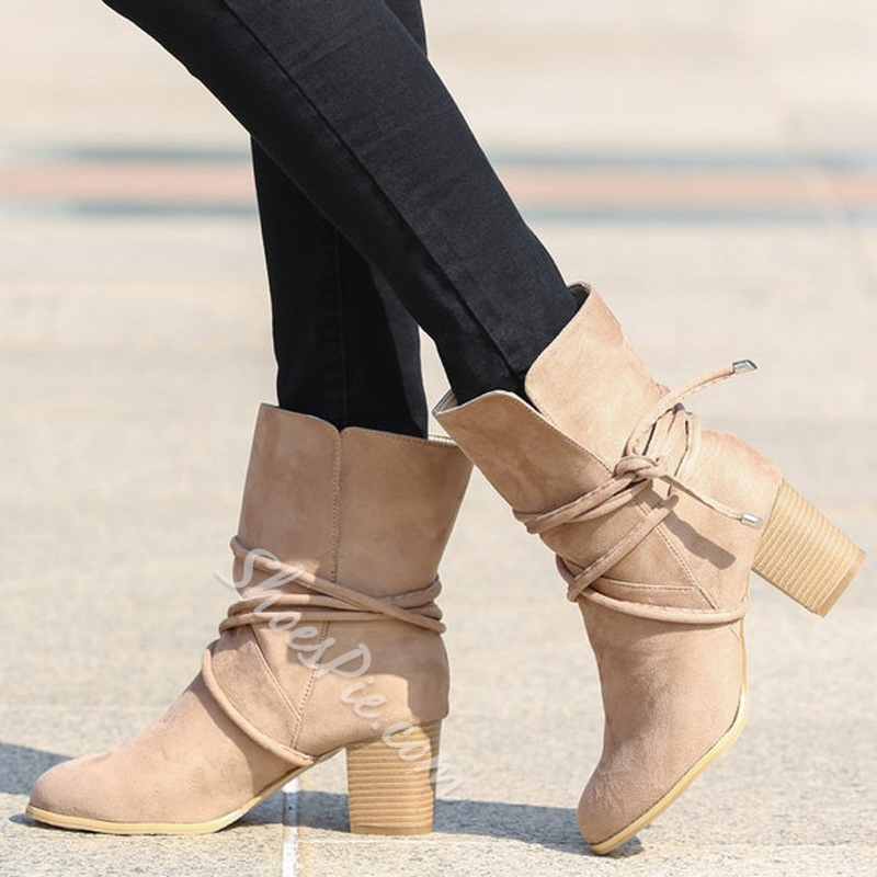 Shoespie Bow Suede Ankle Boots