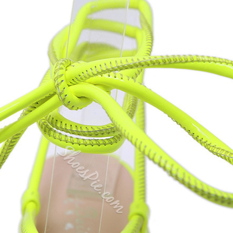 Shoespie Clear Stiletto Heel Lace-Up Strappy Sandals