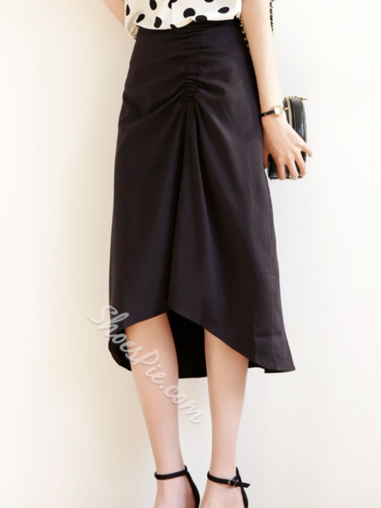 Asymmetric Asymmetrical Plain Office Lady Women's Skirt