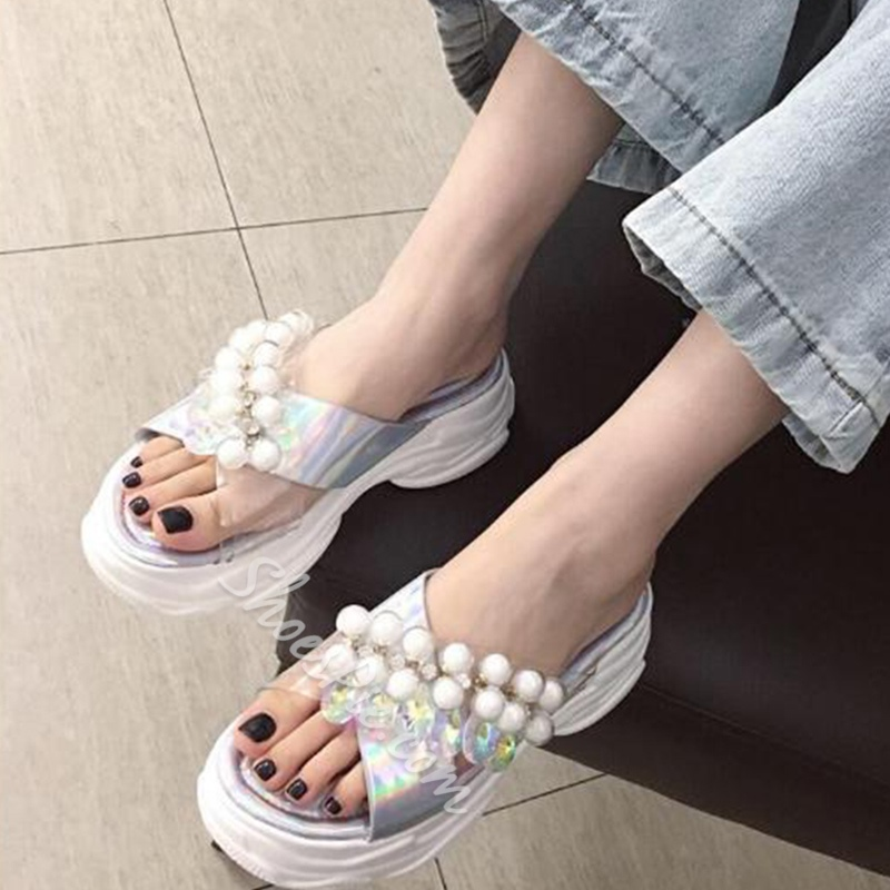 Shoespie Beaded Cross Wedge Heel Color Block Slippers