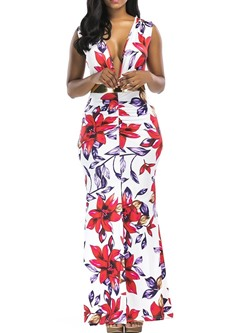 Sleeveless Ankle-Length Split Floral Women's Maxi Dress