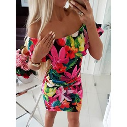 Short Sleeve Print Off Shoulder Women's Bodycon Dress