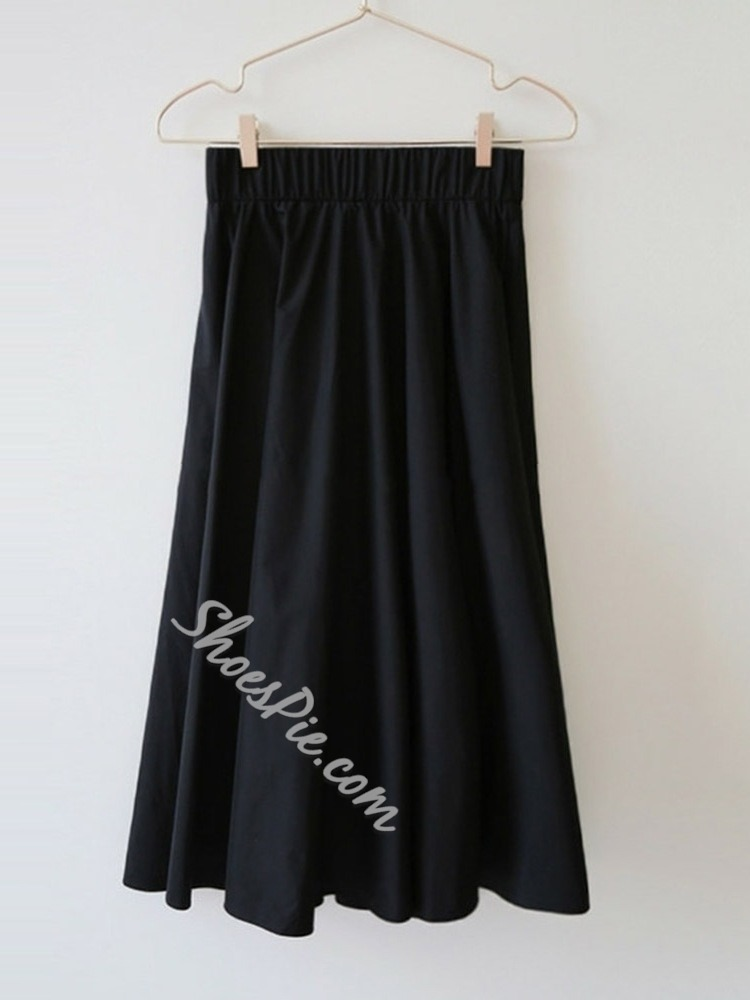 Expansion Mid-Calf Plain Mid Waist Women's Skirt