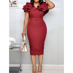 Mid-Calf Short Sleeve Falbala High Waist Women's Bodycon Dress