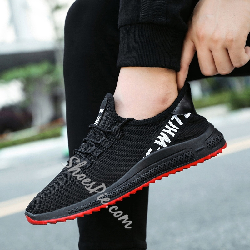 Shoespie Men's Flat With Lace-Up Low-Cut Upper Mesh Sneakers