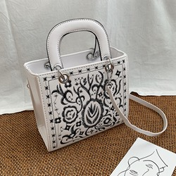 Shoespie Floral PU Embroidery Tote Bags