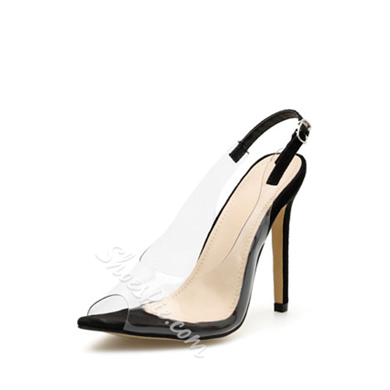 Shoespie Clear Slingback Strap Stiletto Heel Sandals