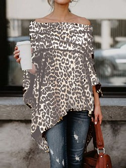 Asymmetric Off Shoulder Leopard Three-Quarter Sleeve Women's Blouse