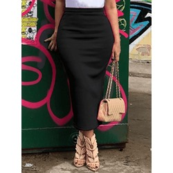Pencil Skirt Mid-Calf Plain Date Night Women's Skirt