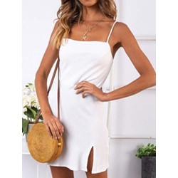Above Knee Split Sleeveless Casual Women's Casual Dress