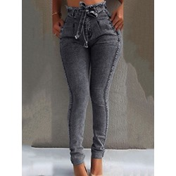 Pencil Pants Plain High Waist Women's Jeans